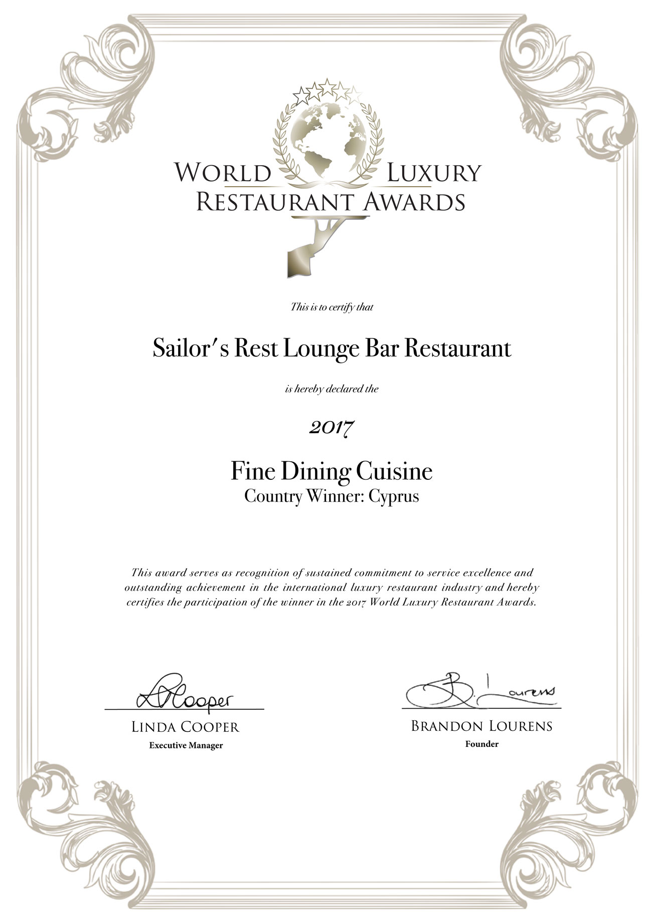 Sailor's Rest Lounge Bar Restaurant - World Luxury Restaurant Awards